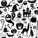 Black and white seamless background abstract pattern for hallowe Royalty Free Stock Images