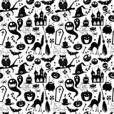 Black and white seamless background abstract pattern for hallowe Stock Photos