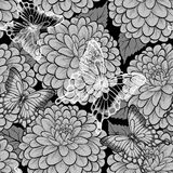 Black and white seamless background with butterfli Stock Photography