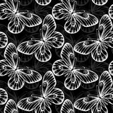 Black and white seamless background with flying butterflies. Royalty Free Stock Images
