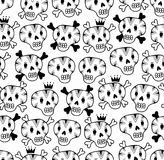 Black and white seamless background with funny skulls. Vector illustration for coloring Stock Image