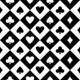 Black and white seamless background with suits of playing cards. Vector stock illustration