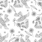 Black and white seamless bird pattern. Vector illustration in retro style vector illustration