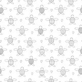 Black and white seamless children`s pattern with turtles. Graphic turtles with different shells. Hearts around Stock Photos