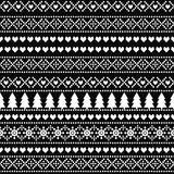 Black and white seamless Christmas pattern - Scandinavian sweater style. Royalty Free Stock Photos