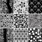 Black-and-white seamless collection Stock Photo