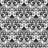 Seamless floral pattern. Black and white seamless damask wallpaper pattern Stock Image