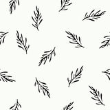 Black and white seamless decorative pattern with floral ornament Stock Images