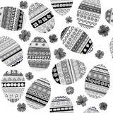 Black and white seamless with Easter eggs. Black and white seamless with Easter doodle decoration eggs Royalty Free Stock Images