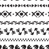 Black and white seamless ethnic background handmade. Cute abstract drawing. Vector illustration Royalty Free Stock Image