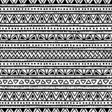 Black and white seamless ethnic background. Vector illustration. Drawing by hand Royalty Free Stock Photos
