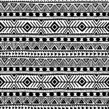 Black and white seamless ethnic background. Vector illustration. Drawing by hand Royalty Free Stock Images