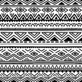 Black and white seamless ethnic background. Vector illustration. Royalty Free Stock Photography