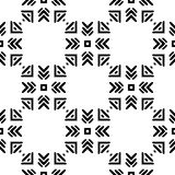 Black and White Seamless Ethnic Pattern. Vintage, Grunge, Abstract Tribal Background for Textile Design, Wallpaper, Surface Textures, Wrapping Paper Royalty Free Stock Photo