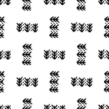 Black and White Seamless Ethnic Pattern. Vintage, Grunge, Abstract Tribal Background for Textile Design, Wallpaper, Surface Textures, Wrapping Paper Stock Photos
