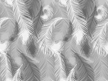Black and white seamless feather pattern. Seamless background with beautiful feathers of bird. Repeating texture. Boho style royalty free illustration