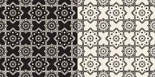 Black and white seamless floral delft pattern Stock Photo