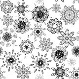 Black on white seamless floral pattern Stock Photography