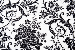 Black & White Seamless Floral Pattern Stock Photography