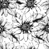 Black and white seamless floral pattern with cute yellow sunflowers. For your own design. Vector wallpaper, card vector illustration