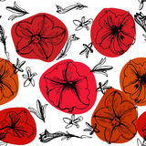 Black and white seamless floral pattern Stock Image