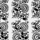 Black and white seamless floral pattern Stock Images