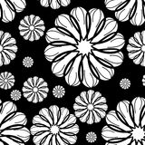 Black and white seamless floral pattern. Raster clip art. Royalty Free Stock Images