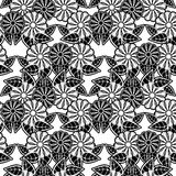 Black and white seamless floral pattern. Raster clip art. Black and white seamless floral pattern. Abstract beautiful  flowers silhouettes. Raster clip art Stock Photos
