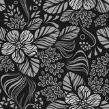 Black and white seamless floral pattern. Black and white seamless floral wallpaper pattern vector template. Seamless wrapping paper, textile or upholstery print Stock Image