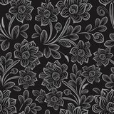 Black and white seamless floral wallpaper. Pattern vector template. Seamless wrapping paper, textile or upholstery print Stock Photos