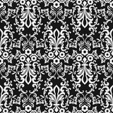 Black and white seamless floral wallpaper. Pattern vector template. Seamless wrapping paper, textile or upholstery print Royalty Free Stock Images