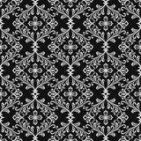 Black and white seamless floral wallpaper pattern. Royalty Free Stock Image