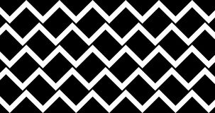 Black and white seamless geometric pattern animate front and back footage 4k clip