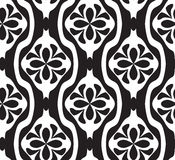 Black and white seamless geometric pattern. With decorative flowers Stock Photography