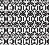 Black and white seamless geometric pattern. With decorative flowers Stock Photo