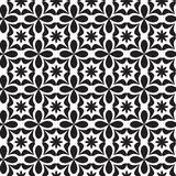 Black and white seamless geometric pattern. With decorative shapes and flowers Royalty Free Stock Photography