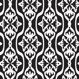 Black and white seamless geometric pattern. With decorative shapes and flowers Stock Photography
