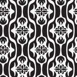 Black and white seamless geometric pattern. With decorative shapes and flowers Stock Image