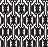 Black and white seamless geometric pattern. With decorative shapes and flowers Stock Photos