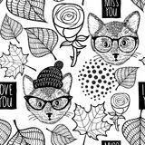 Black and white seamless illustration for coloring book. Royalty Free Stock Images