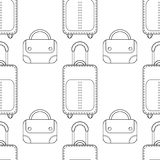 Black and white seamless illustration, pattern of fashion bags for coloring book, page. Royalty Free Stock Photography