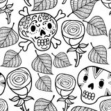 Black and white seamless illustration with roses and sugar skulls. Stock Image