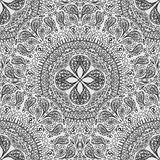 Black and white seamless lace background. Pattern of lacy napkins in a primitive style. Royalty Free Stock Images