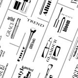 In black and white Seamless Makeup tools pattern Royalty Free Stock Photos