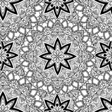 Black and white seamless mandala pattern. Monochrome seamless background with stars. Hand-drawn vector illustration. Anti stress coloring page for adults Stock Images