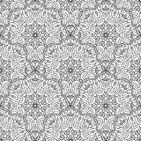 Black and white seamless oriental pattern. Monochrome seamless background with mandalas. Hand-drawn vector illustration Royalty Free Stock Photos