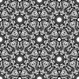 Black and white seamless oriental pattern. Monochrome seamless background with mandalas. Hand-drawn vector illustration Stock Photos