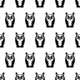 Black and white seamless owl pattern. Cute cartoon owl background. Child drawing style bird illustration Stock Photos