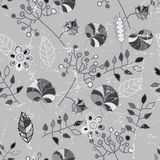 Black and white seamless pattern. Abstract seamless background  with leaves and flowers Stock Photo