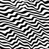 Black & white seamless pattern with abstract curved lines Stock Images